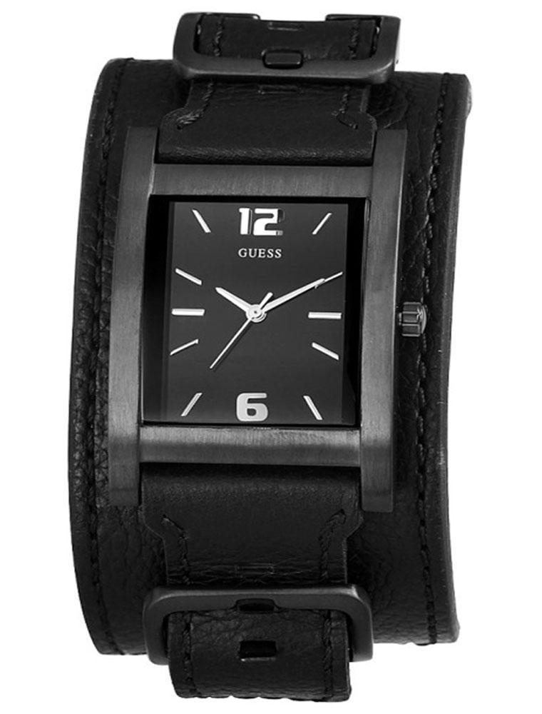 Guess horlogeband W10609G1 Leder Zwart + zwart stiksel