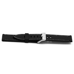 Horlogeband Rubber 22mm Zwart + wit stiksel EX XH18
