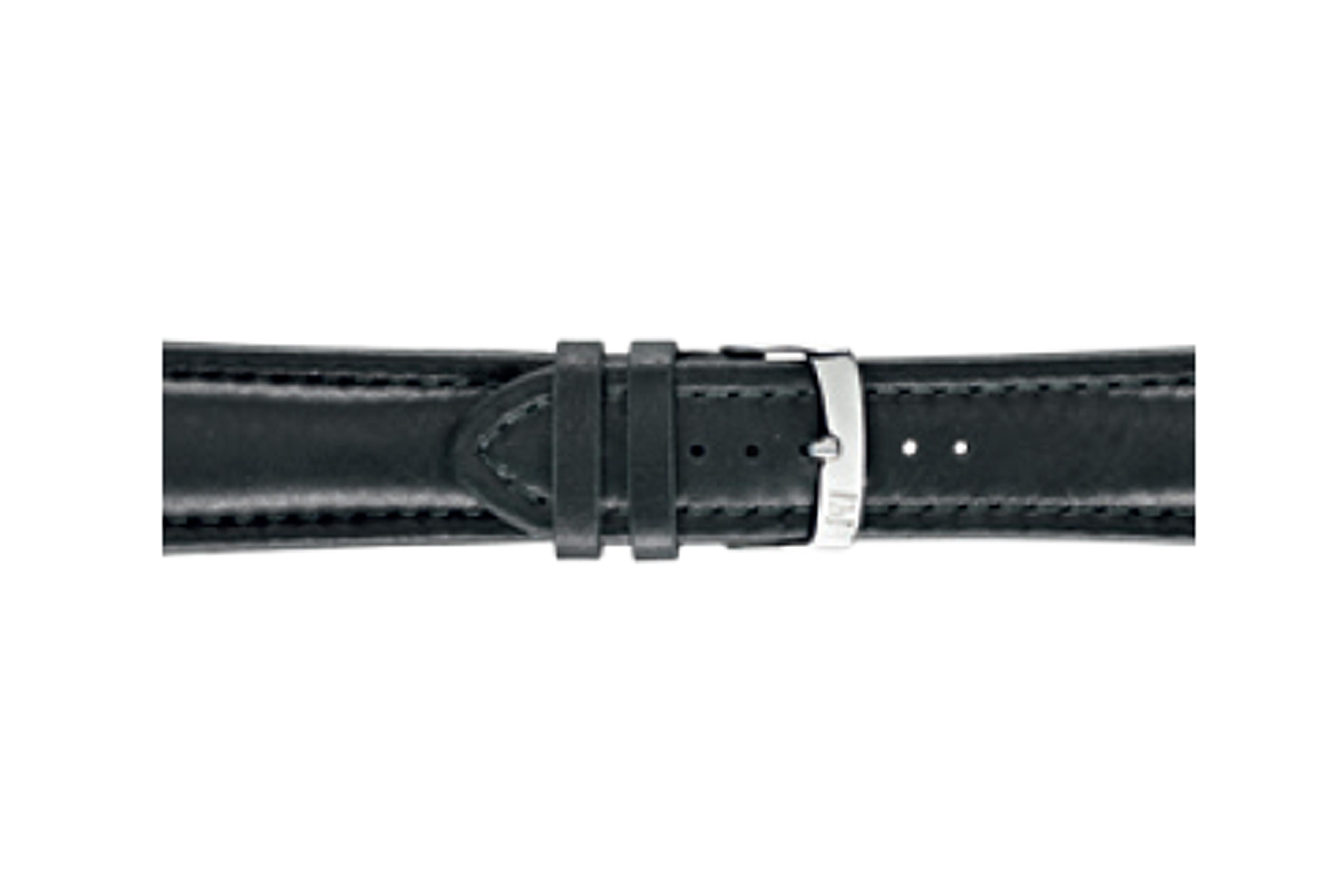 Morellato horlogeband Wide U4026A37019CR28 / PMU019WIDE28 Glad leder Zwart 28mm + standaard stiksel