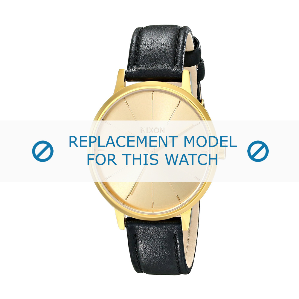 Nixon (vervangend model) horlogeband Kensington - A108501 Leder Zwart 16mm