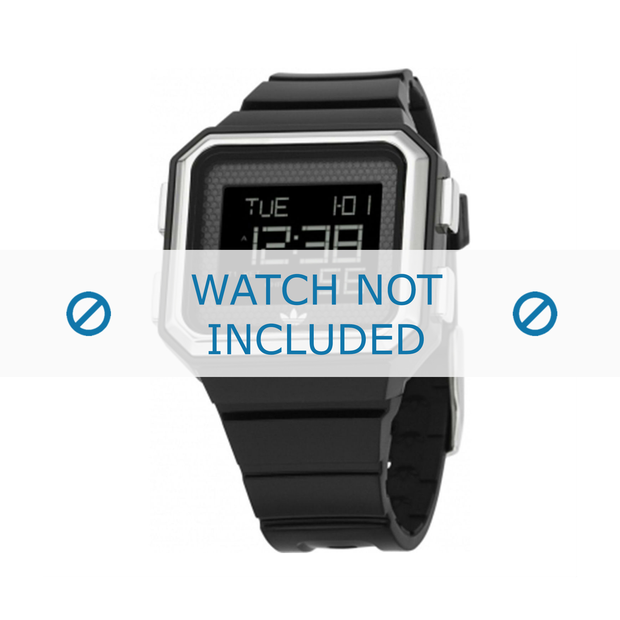 Adidas horlogeband ADH4011 Silicoon Zwart 20mm
