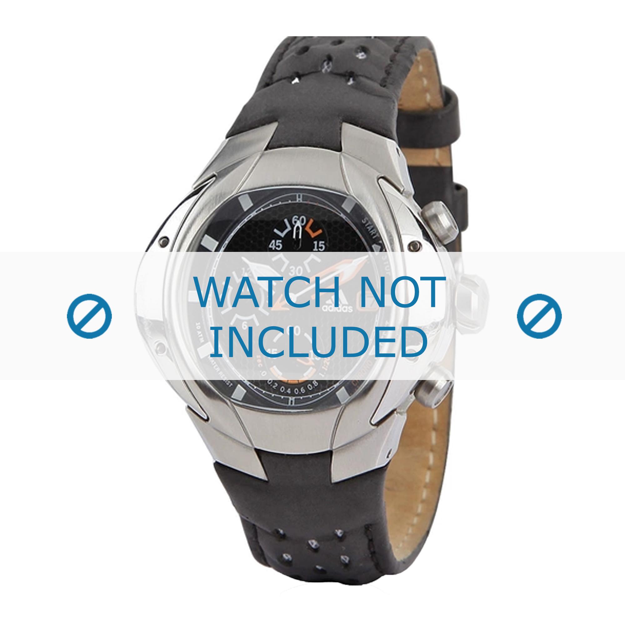 Adidas horlogeband ADP1466 Leder Zwart + zwart stiksel
