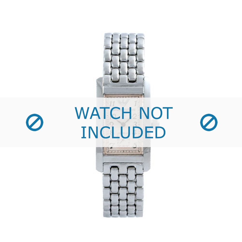 Armani horlogeband AR-0106 Staal Zilver 19mm