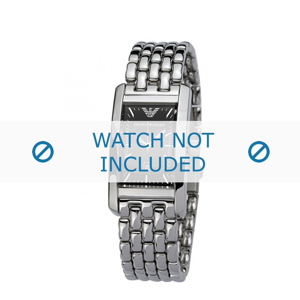 Armani horlogeband AR-0115 Staal Zilver 14mm