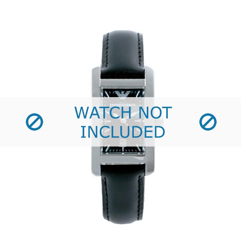 Armani horlogeband AR-0122 Leder Zwart 15mm
