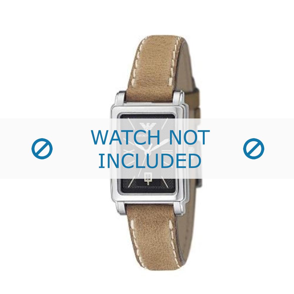 Armani horlogeband AR-0134 Leder Lichtbruin 14mm + wit stiksel