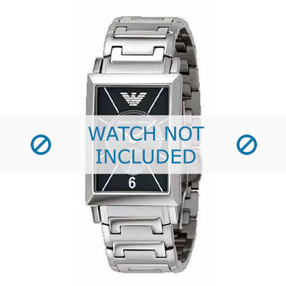 Armani horlogeband AR-0140 Staal Zilver 20mm
