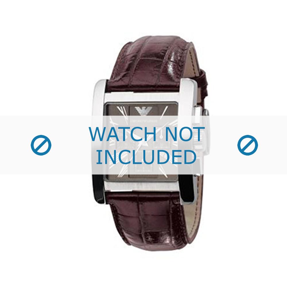 Armani horlogeband AR-0185 Croco leder Donkerbruin 28mm