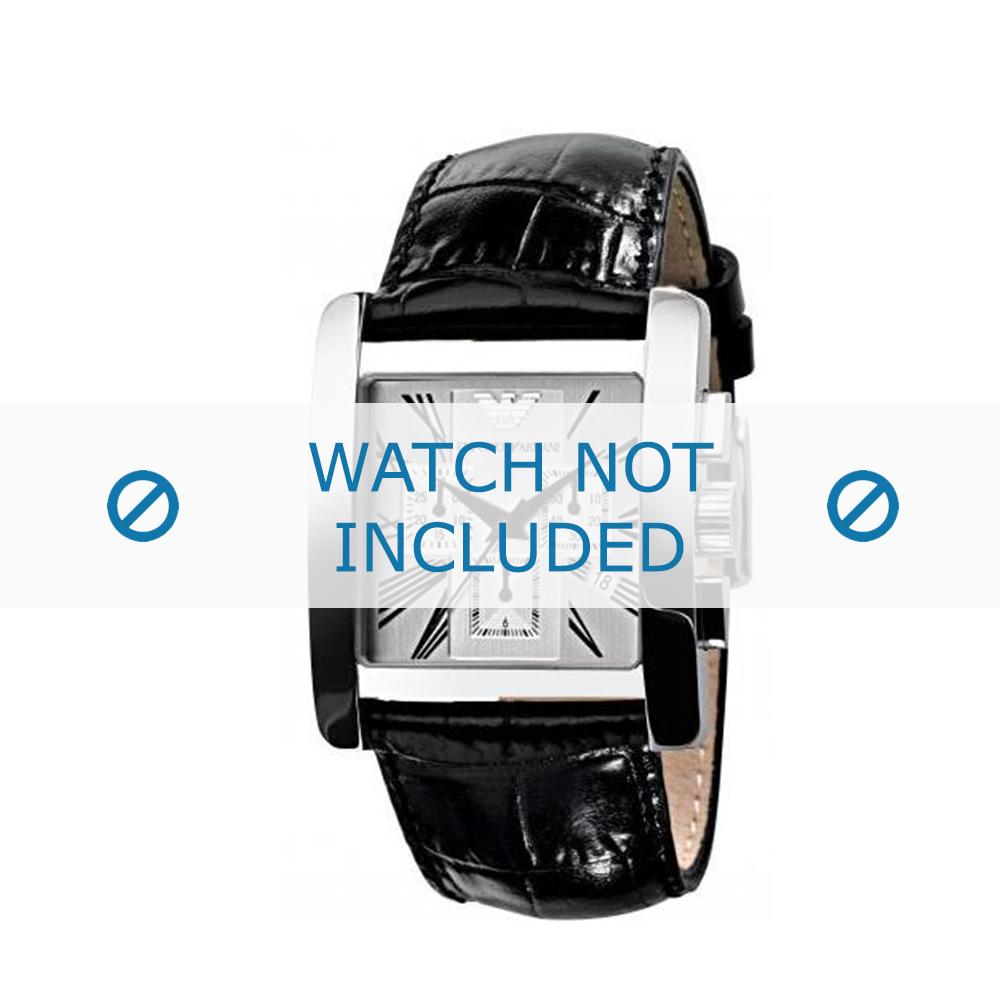 Armani horlogeband AR-0186 Croco leder Zwart 28mm