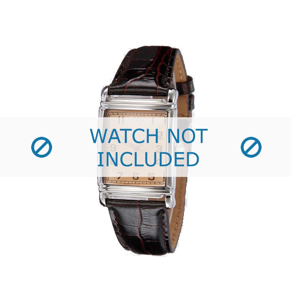 Armani horlogeband AR0203 Leder Bruin 22mm