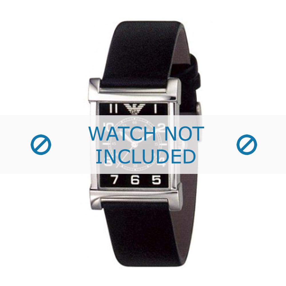 Armani horlogeband AR-0209XL Leder Zwart 20mm