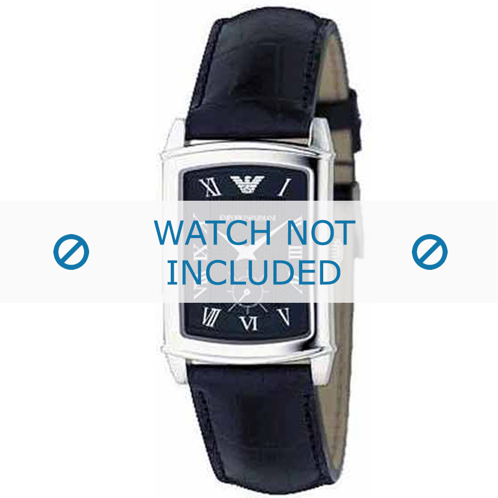 Armani horlogeband AR-0239 Croco leder Zwart 20mm