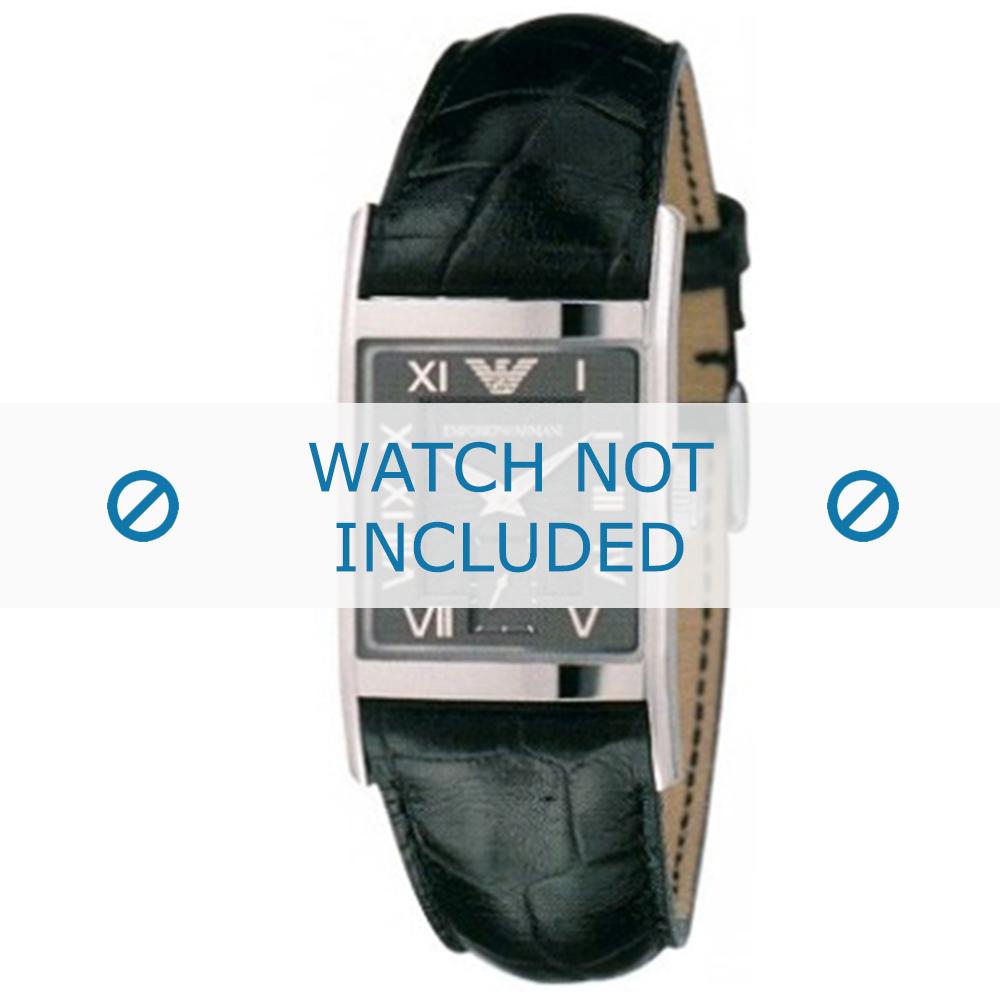 Armani horlogeband AR-0247XL Croco leder Zwart 22mm