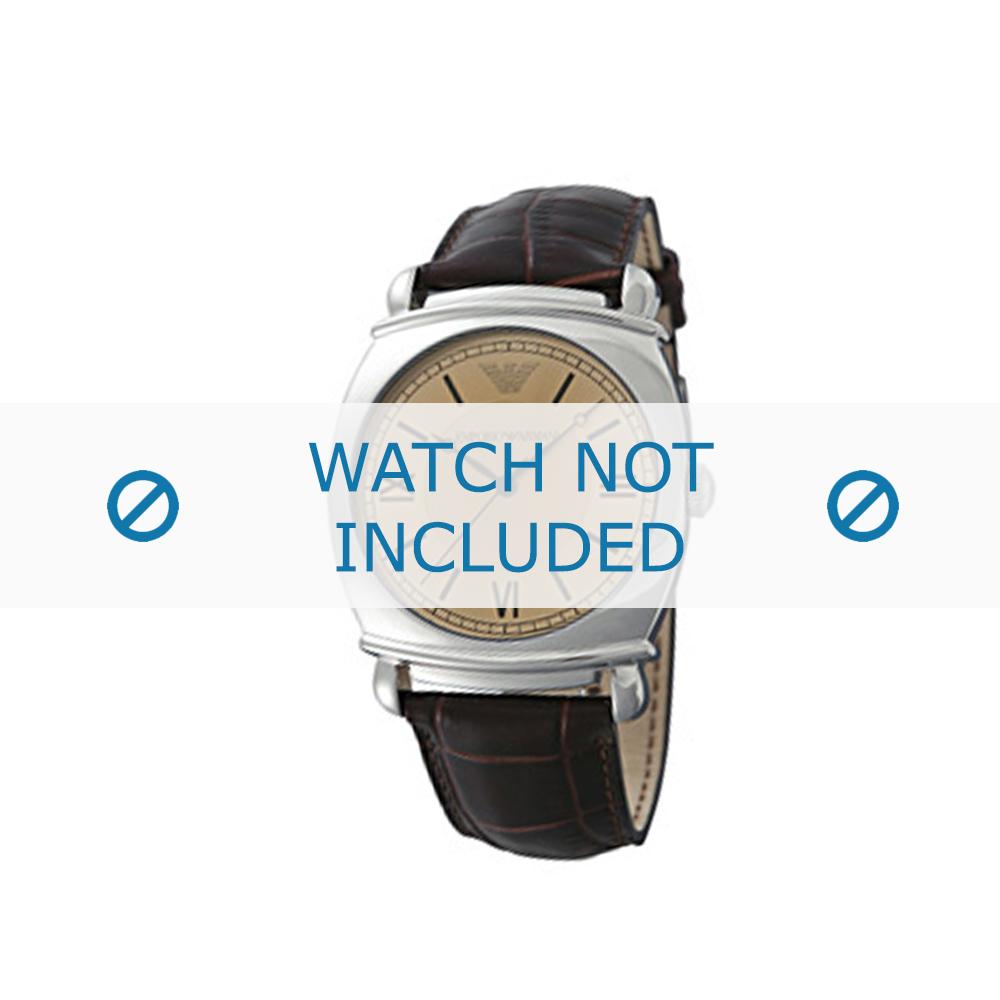 Armani horlogeband AR-0264 Croco leder Bruin 24mm