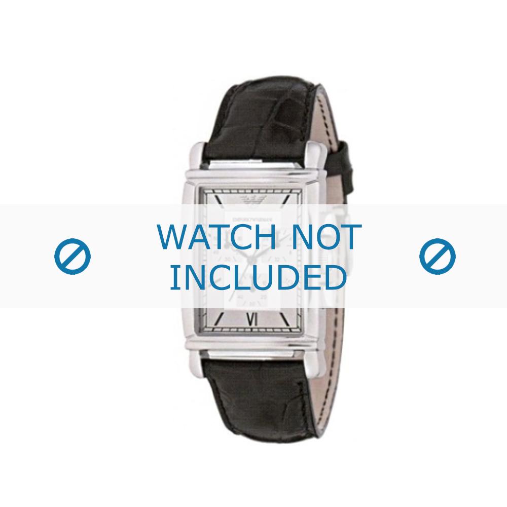 Armani horlogeband AR-0284 Croco leder Zwart 22mm