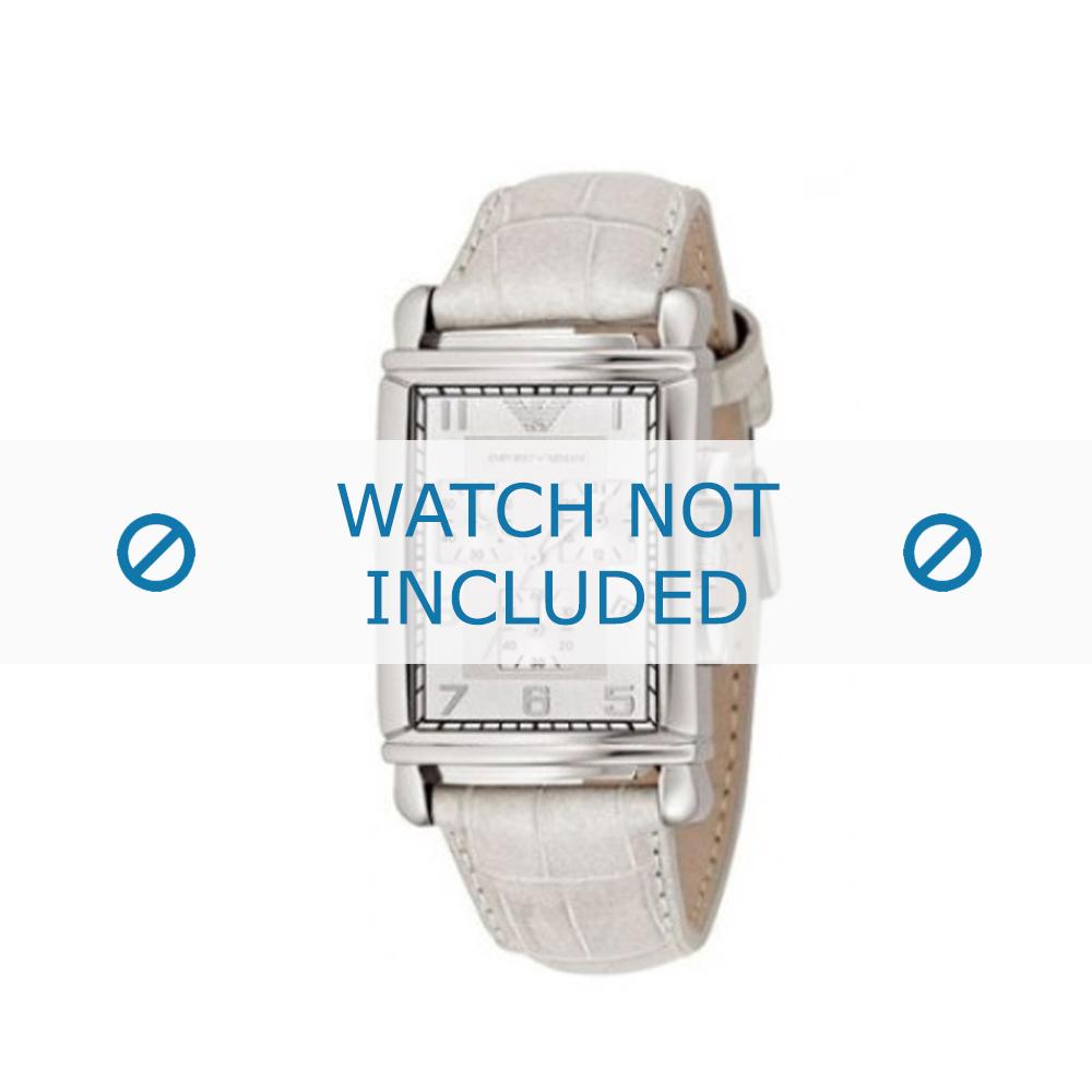 Armani horlogeband AR-0295 Croco leder Wit 22mm