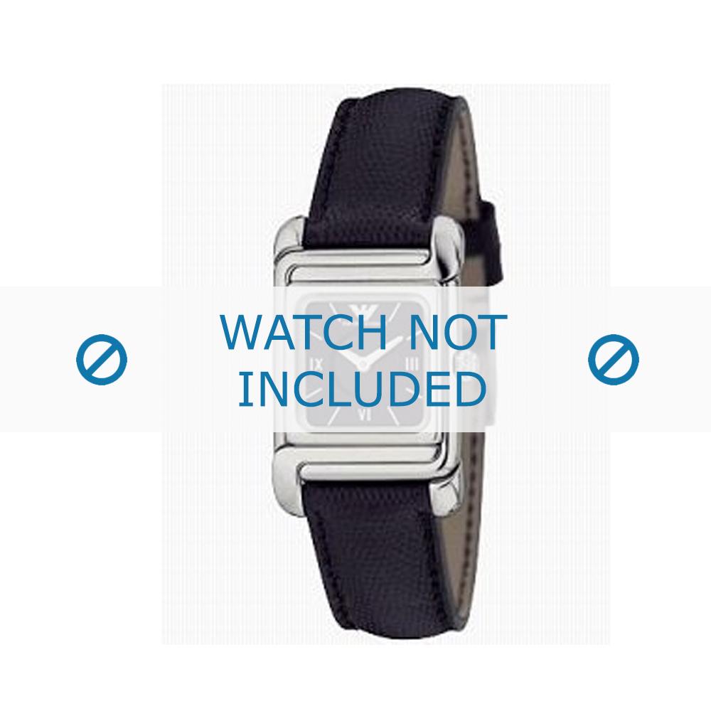 Armani horlogeband AR-0303 Leder Zwart 12mm