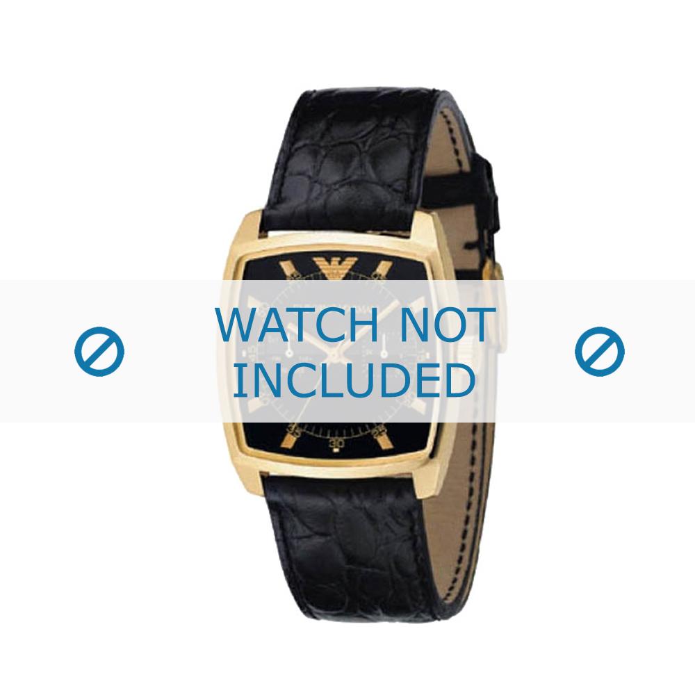 Armani horlogeband AR-0308 Croco leder Zwart 22mm