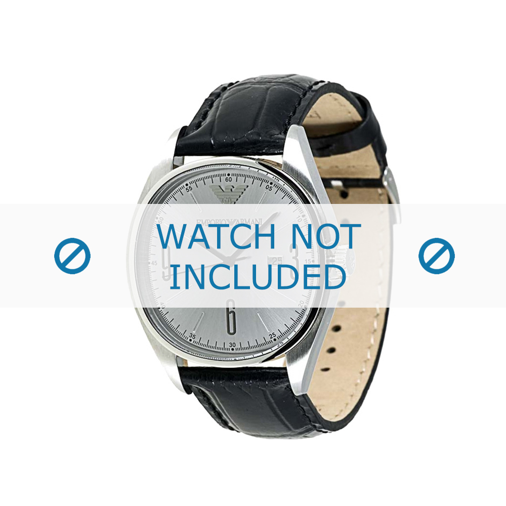 Armani horlogeband AR-0311 Croco leder Zwart 22mm