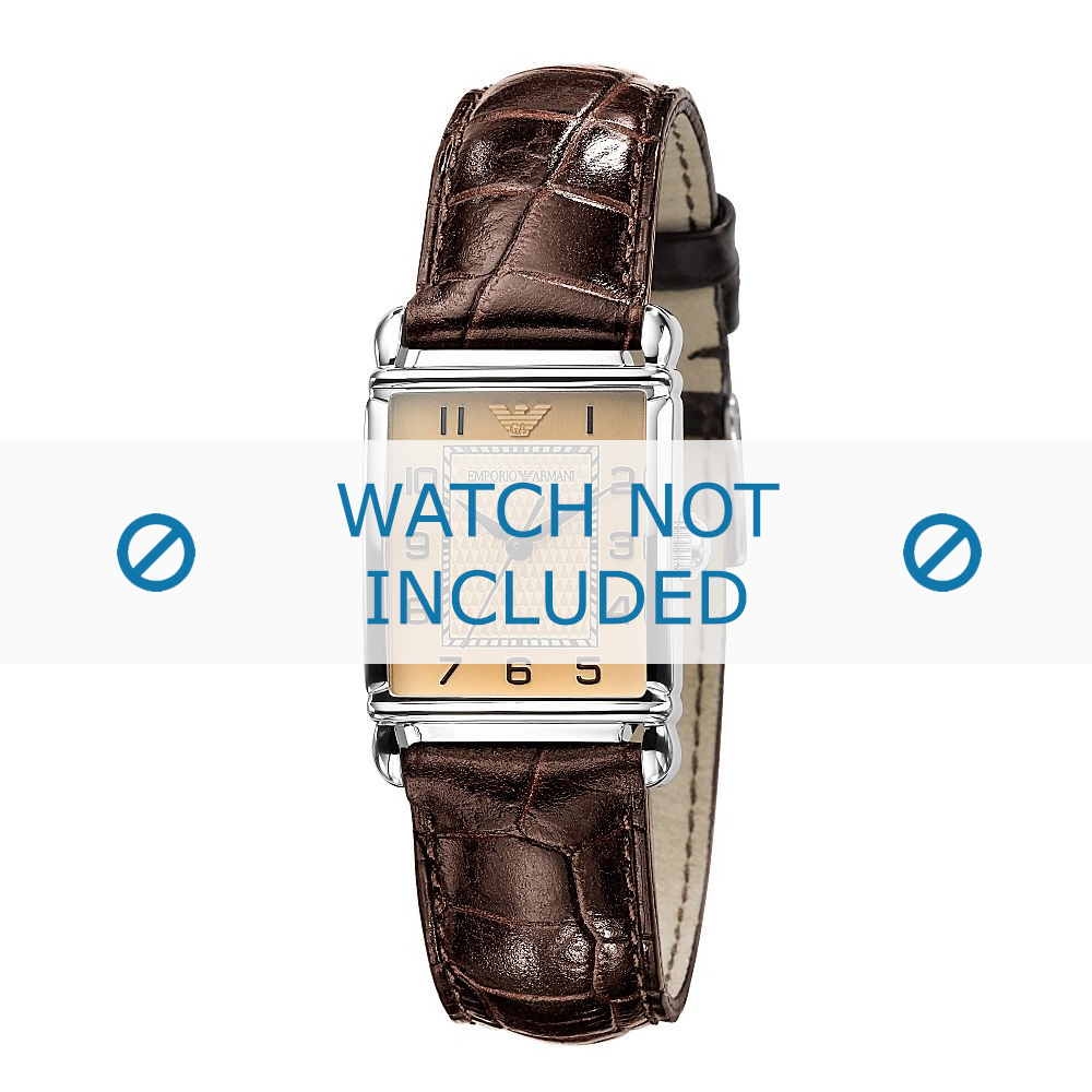 Armani horlogeband AR-0404 Croco leder Bruin 18mm