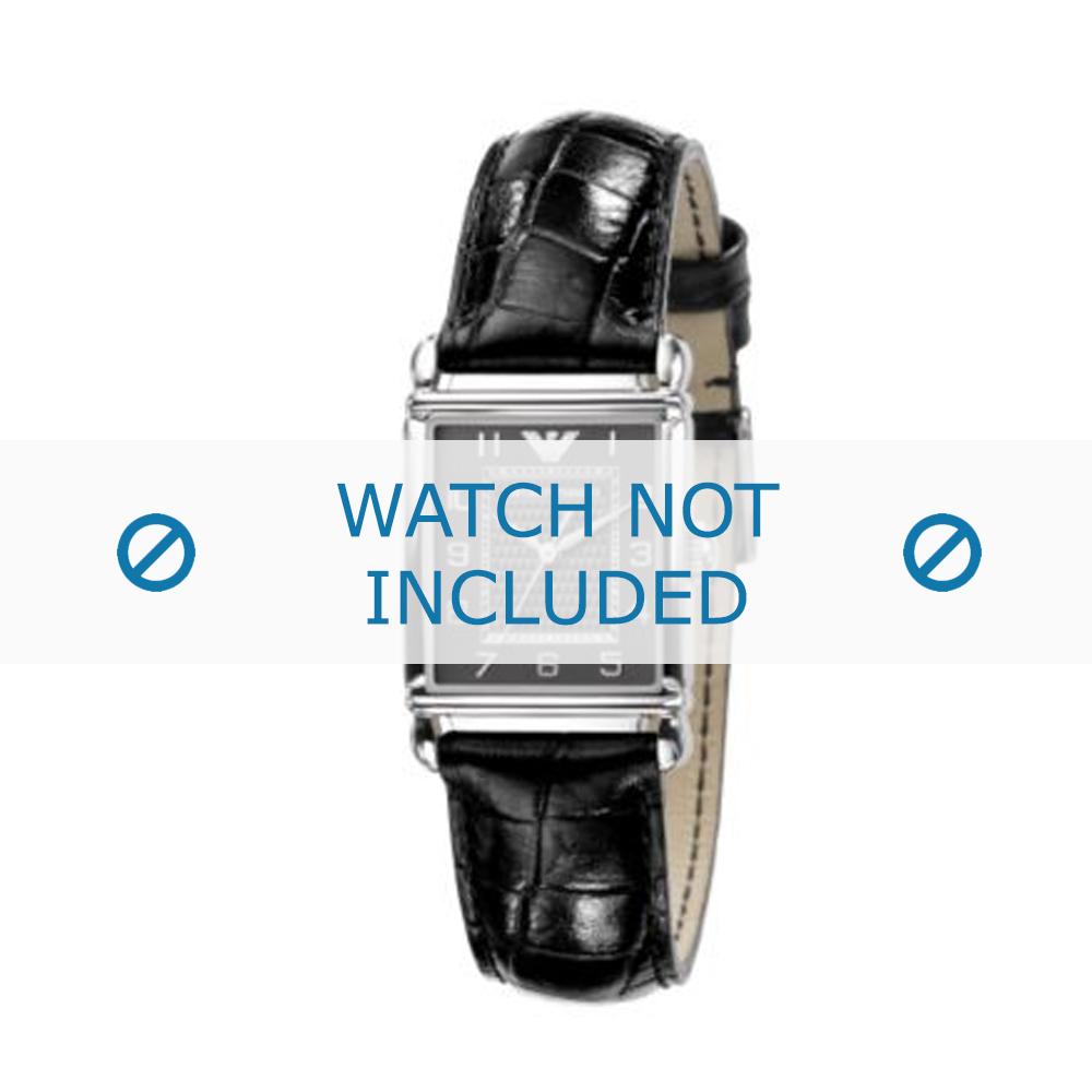 Armani horlogeband AR-0424 Croco leder Zwart 18mm