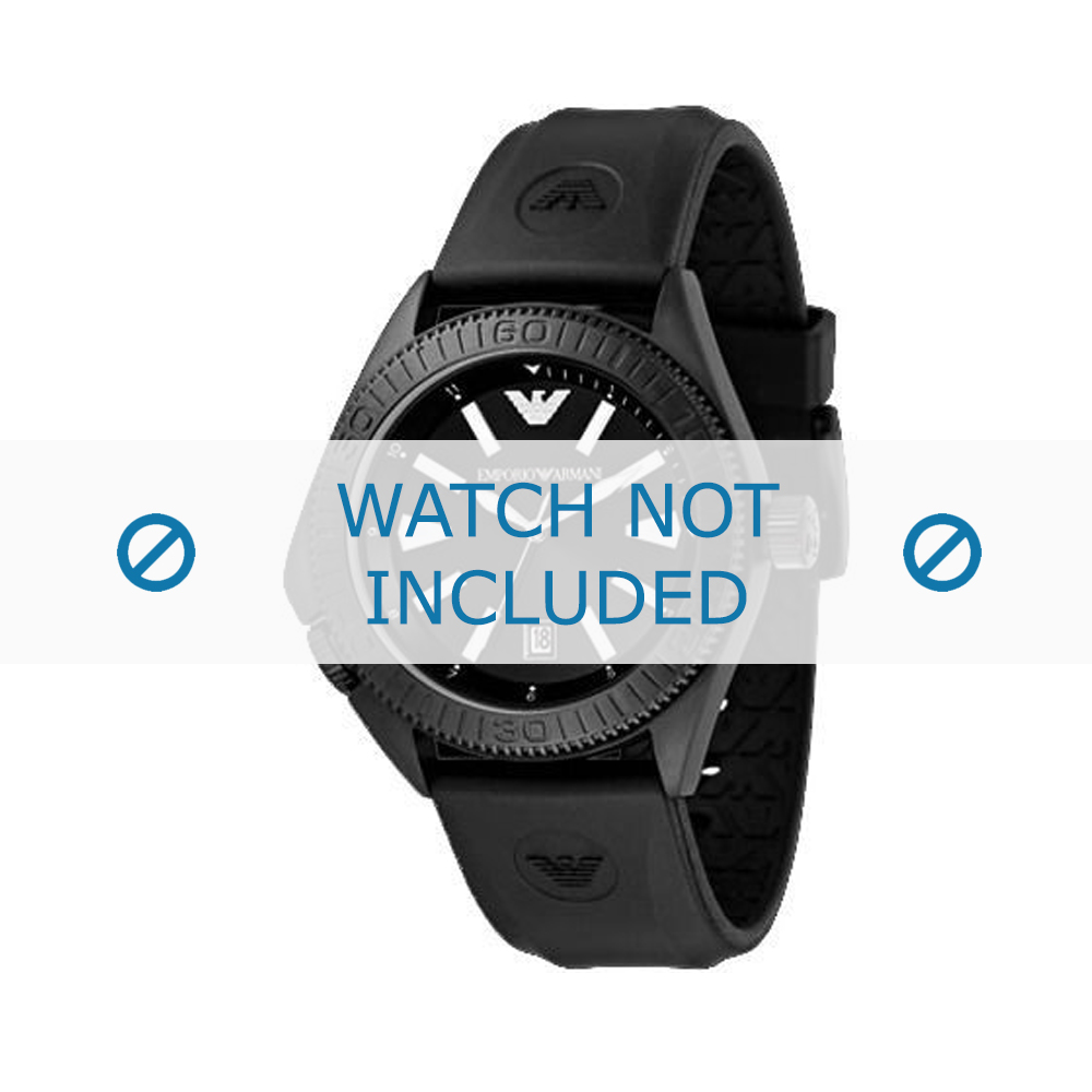 Armani horlogeband AR-0549 Rubber Zwart 23mm