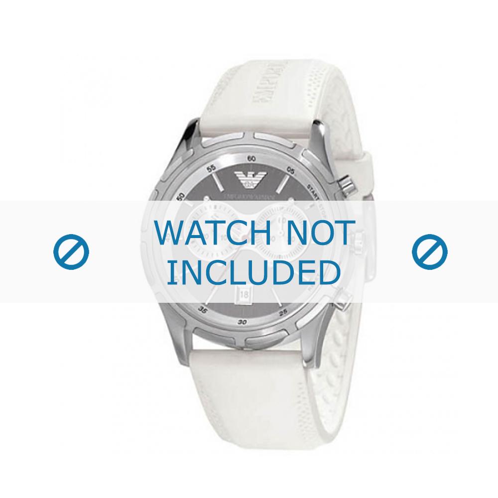 Armani horlogeband AR-0582 Rubber Wit 22mm