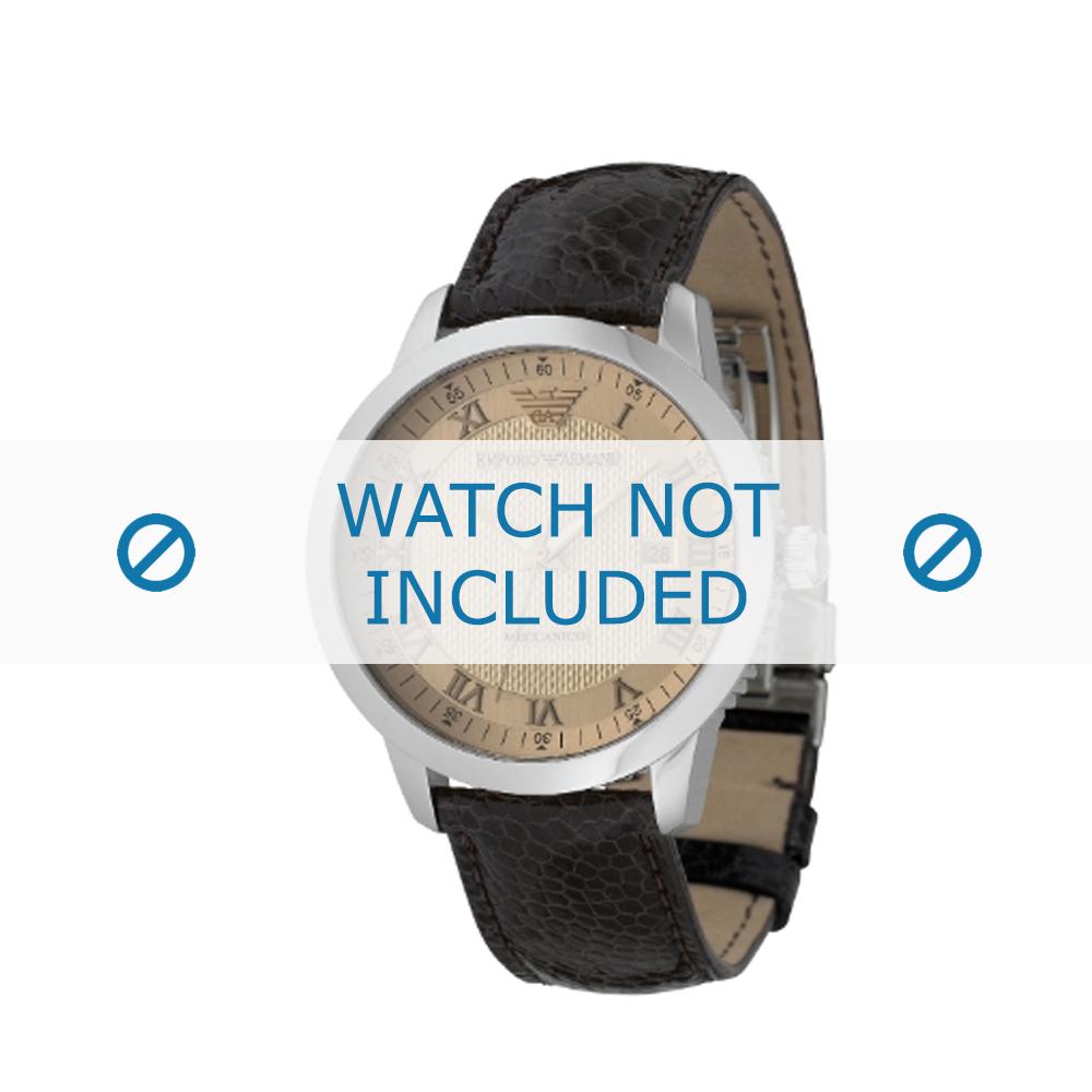 Armani horlogeband AR-0651 Leder Donkerbruin 20mm