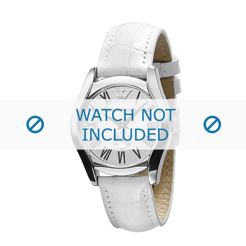 Armani horlogeband AR-0697 Leder Wit 18mm