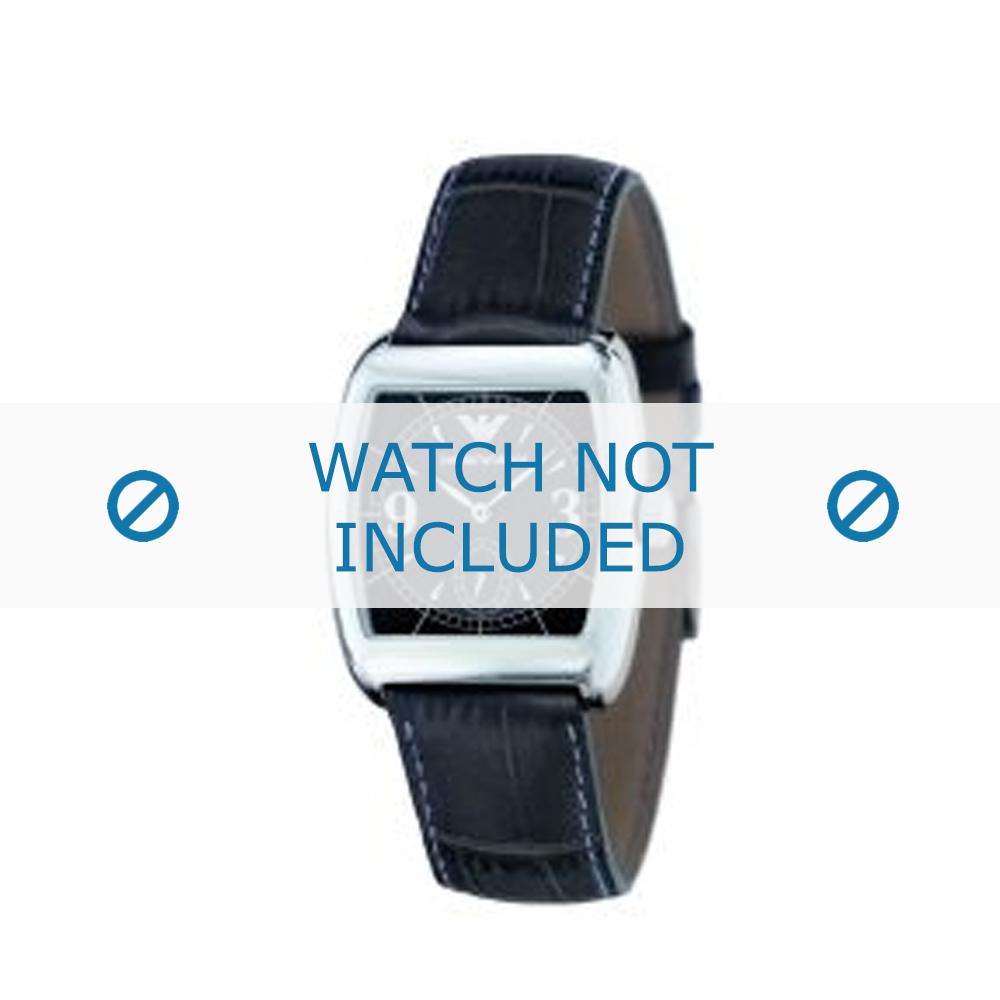 Armani horlogeband AR-0902 Leder Donkerblauw 20mm