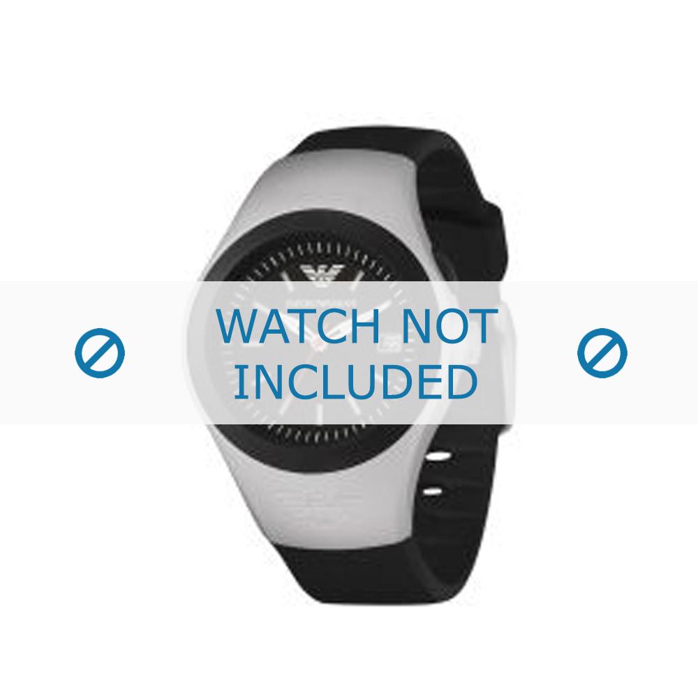 Armani horlogeband AR-1105 Rubber Zwart 14mm