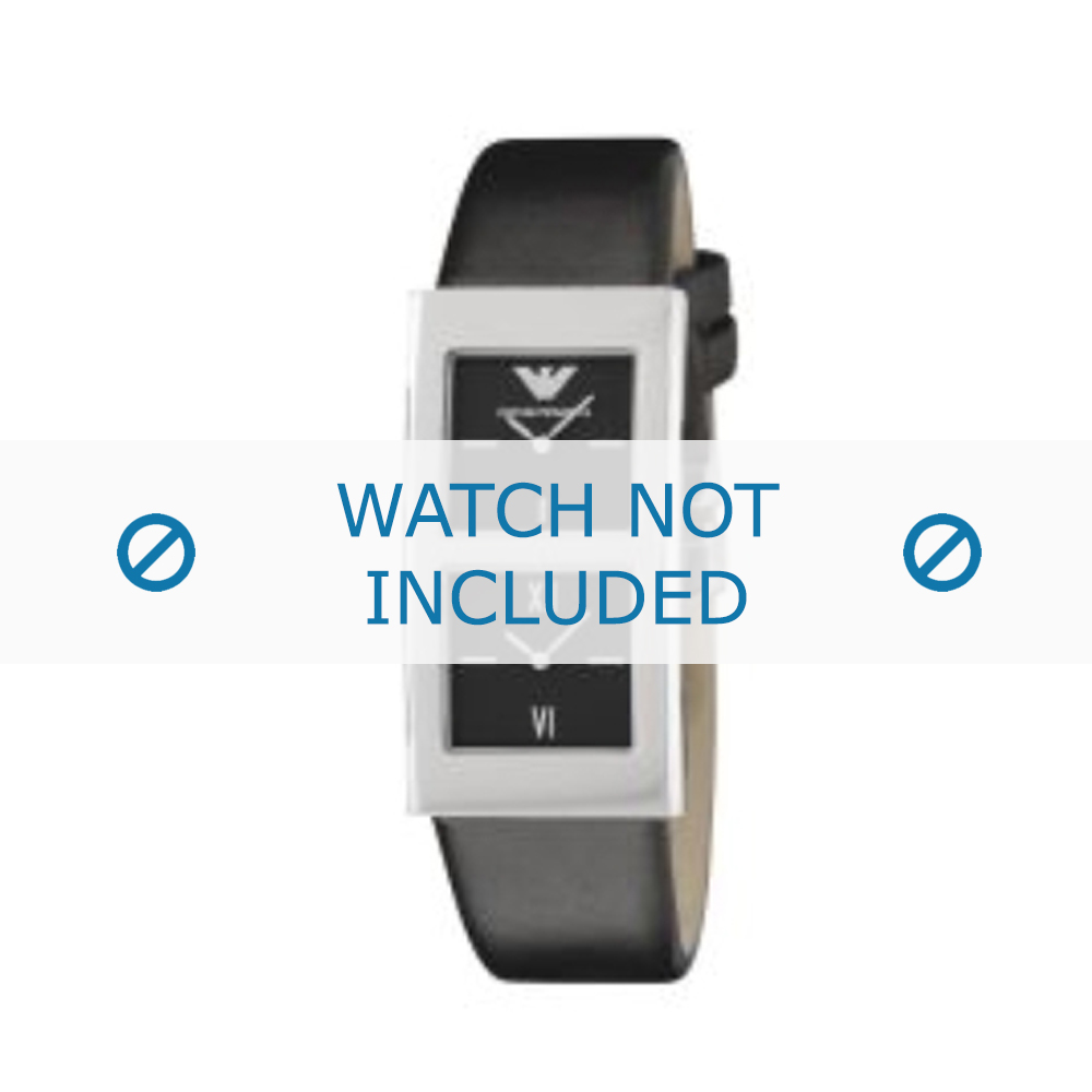 Armani horlogeband AR-2102 Leder Zwart 21mm