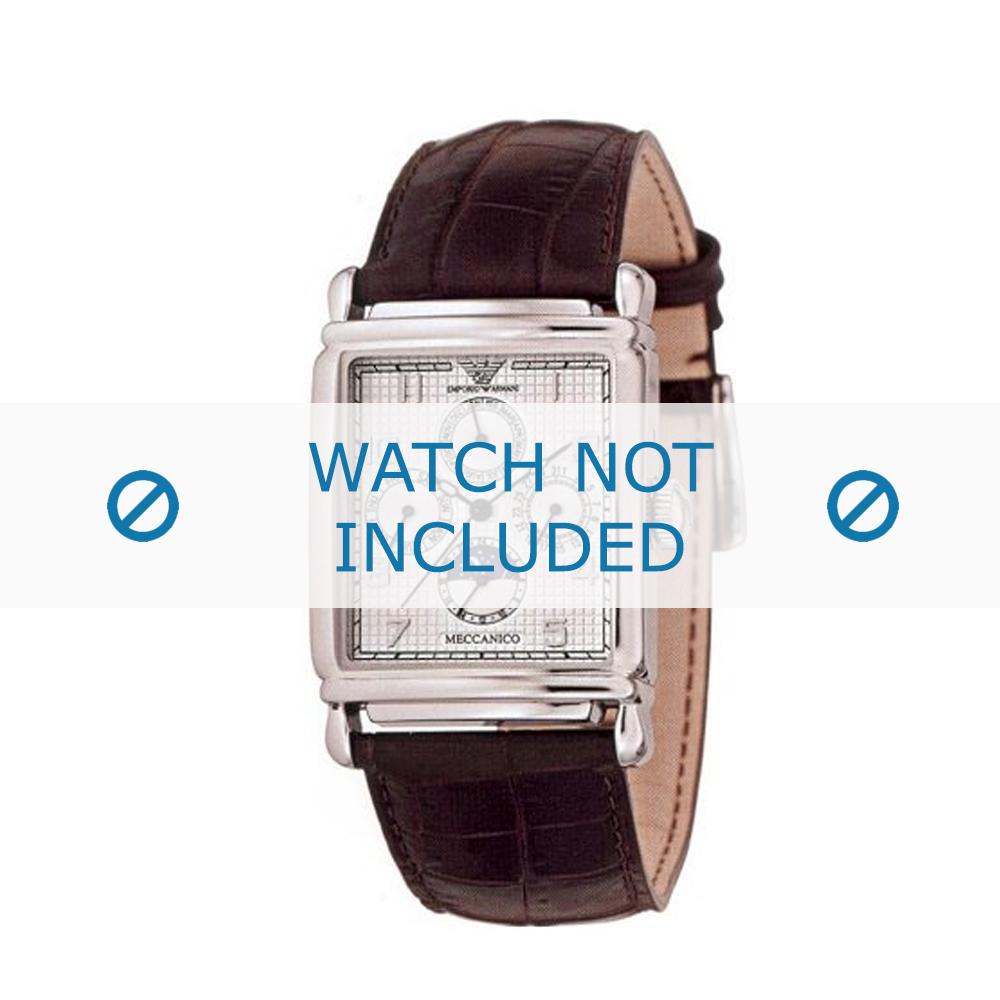 Armani horlogeband AR-4215 Croco leder Bruin 26mm