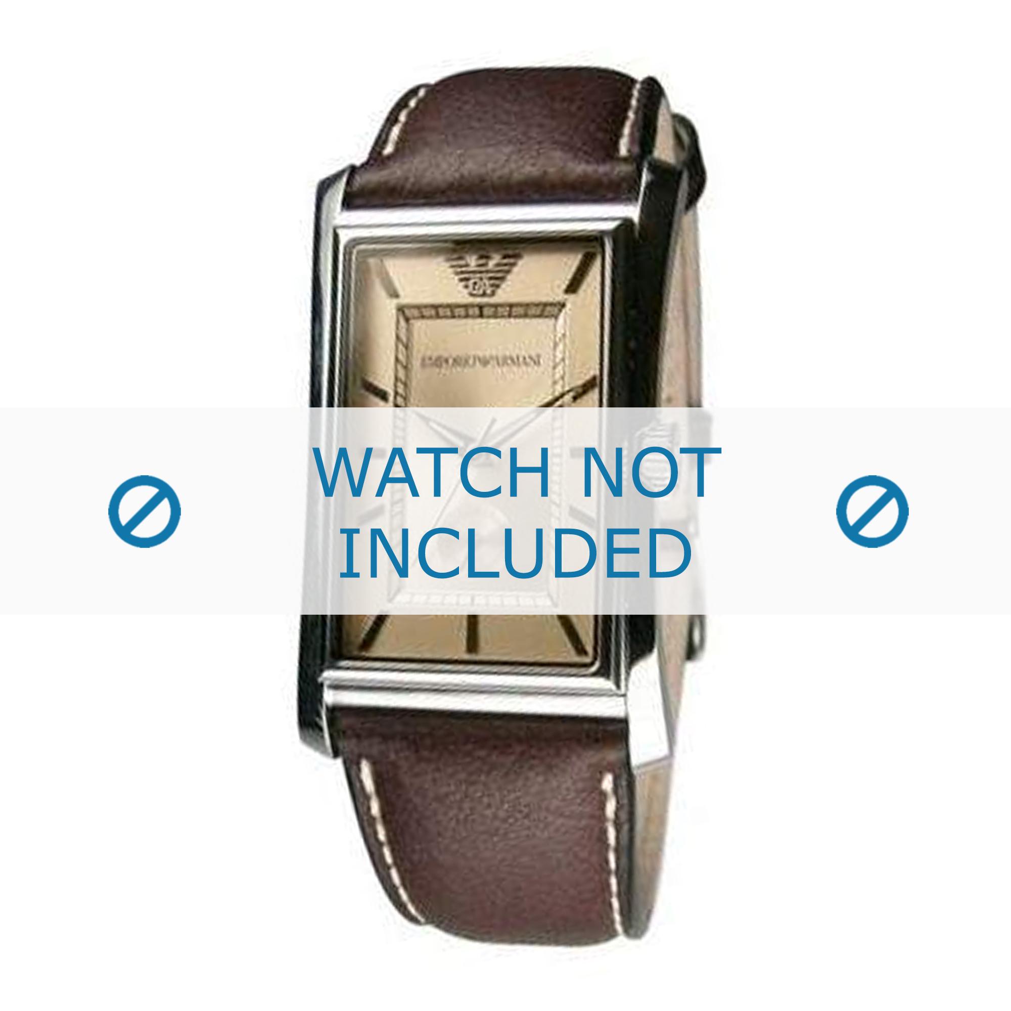 Armani horlogeband AR0152 Leder Bruin 23mm + geel stiksel