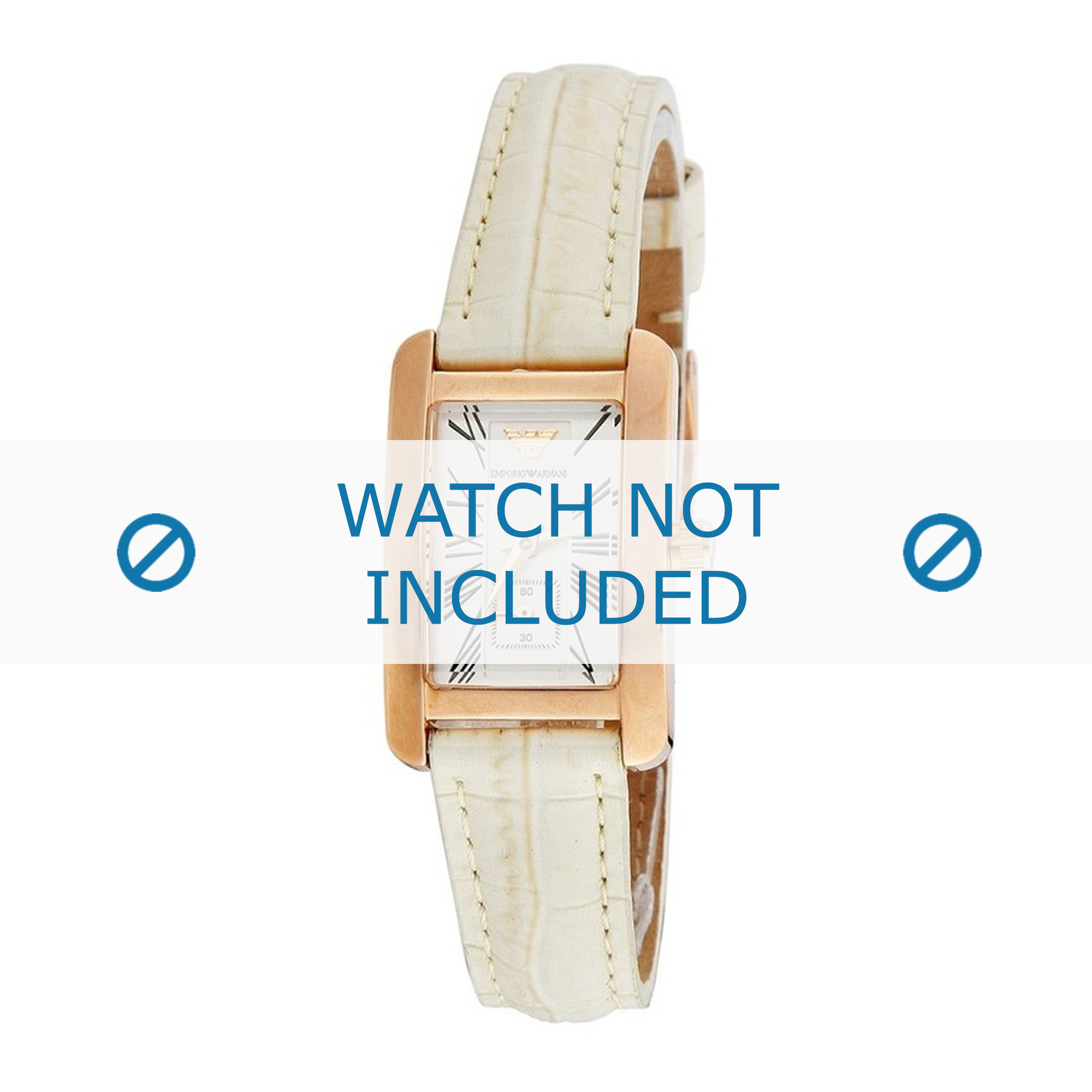 Armani horlogeband AR0173 Leder Wit 14mm + wit stiksel