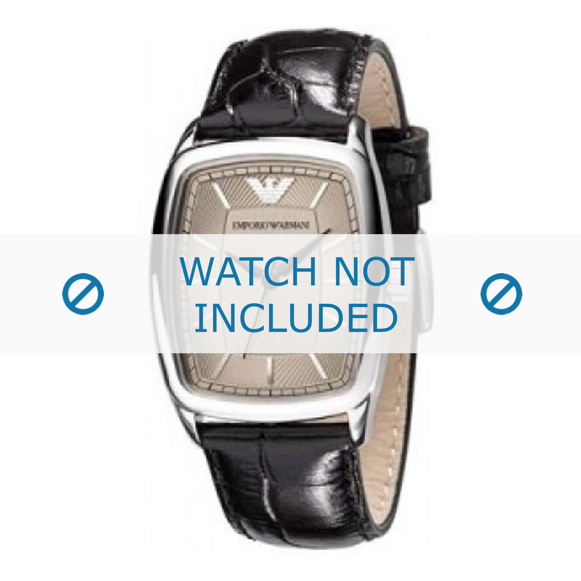 Armani horlogeband AR0410 Leder Zwart 20mm + zwart stiksel