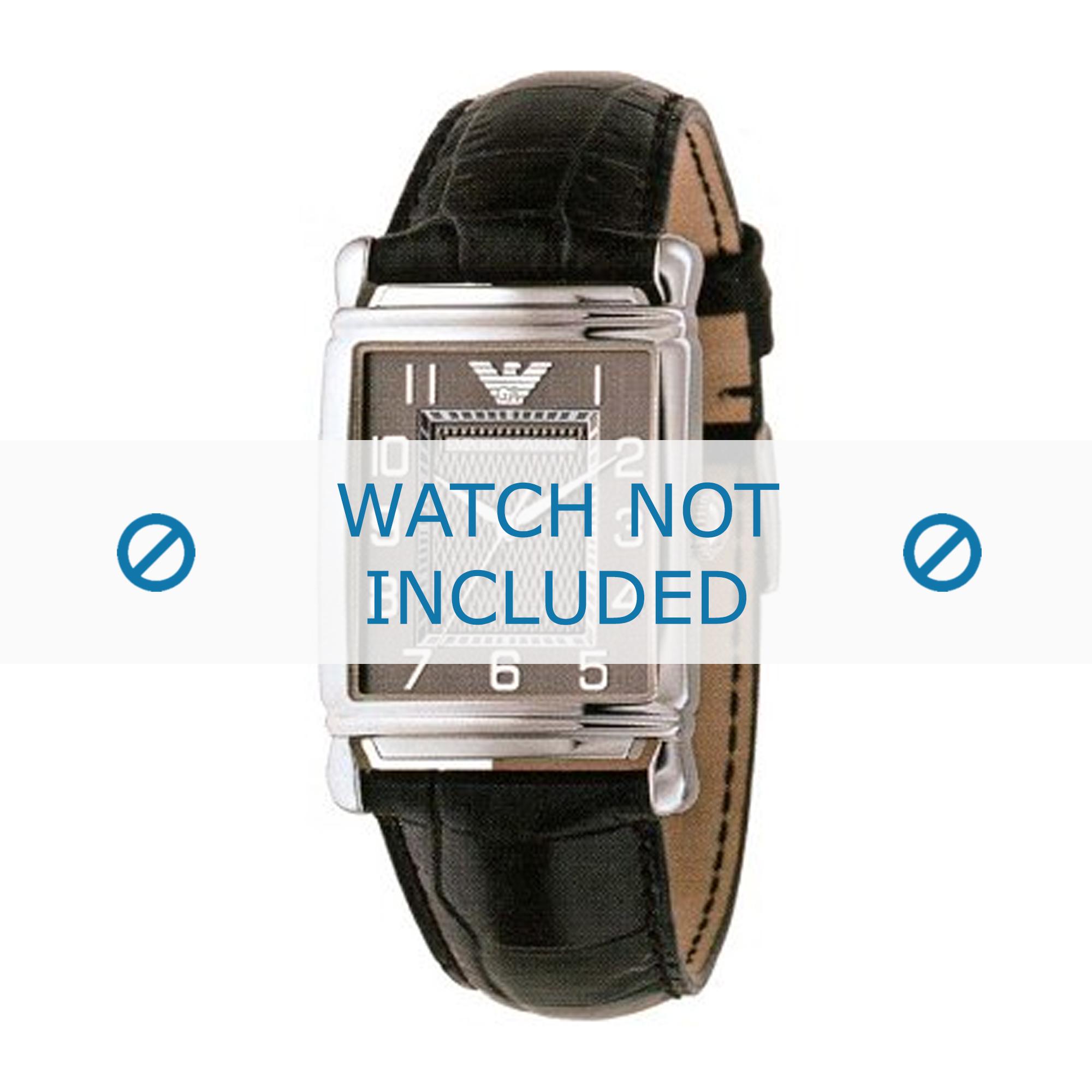 Armani horlogeband AR0423 Leder Zwart 22mm + zwart stiksel