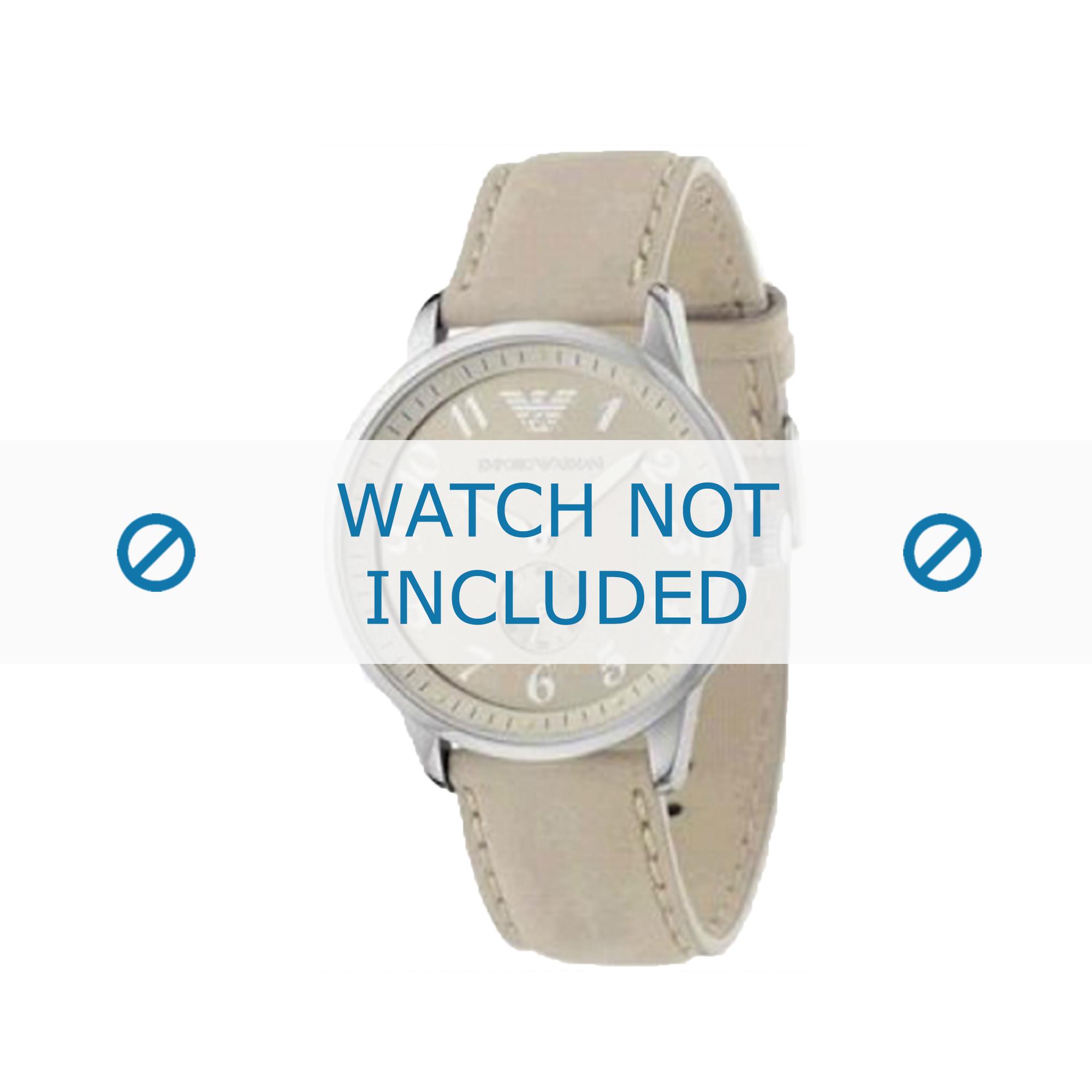 Armani horlogeband AR-0621 Leder Cream wit 20mm