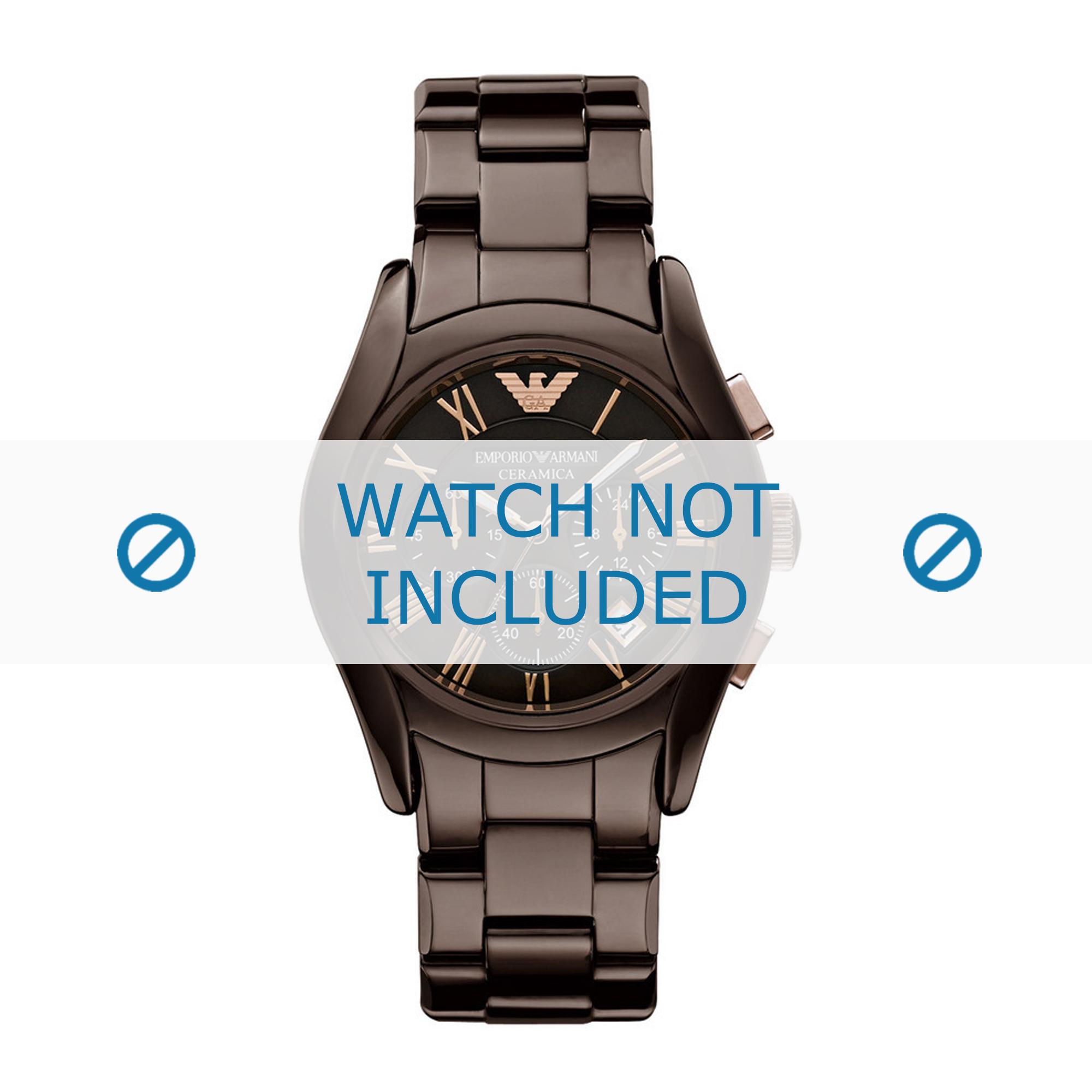 Armani horlogeband AR1446 Keramiek Bruin 22mm