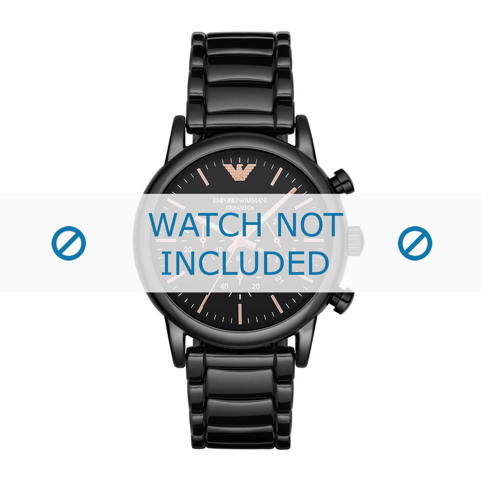 Armani horlogeband AR1509 Keramiek Zwart 22mm