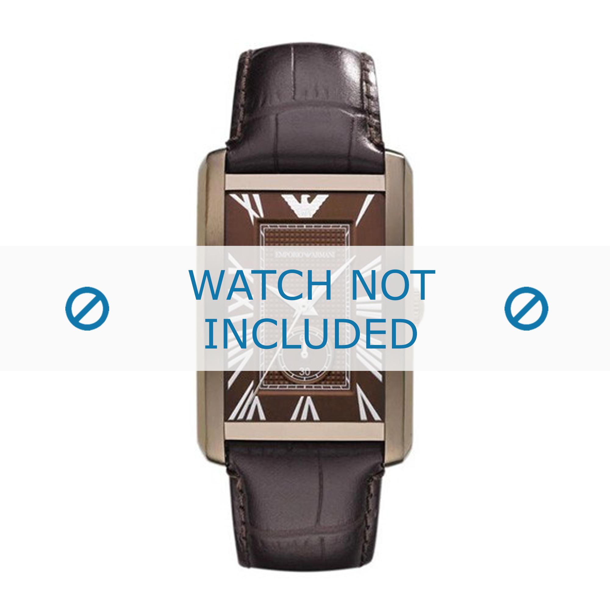 Armani horlogeband AR1606 Leder Donkerbruin 22mm + bruin stiksel