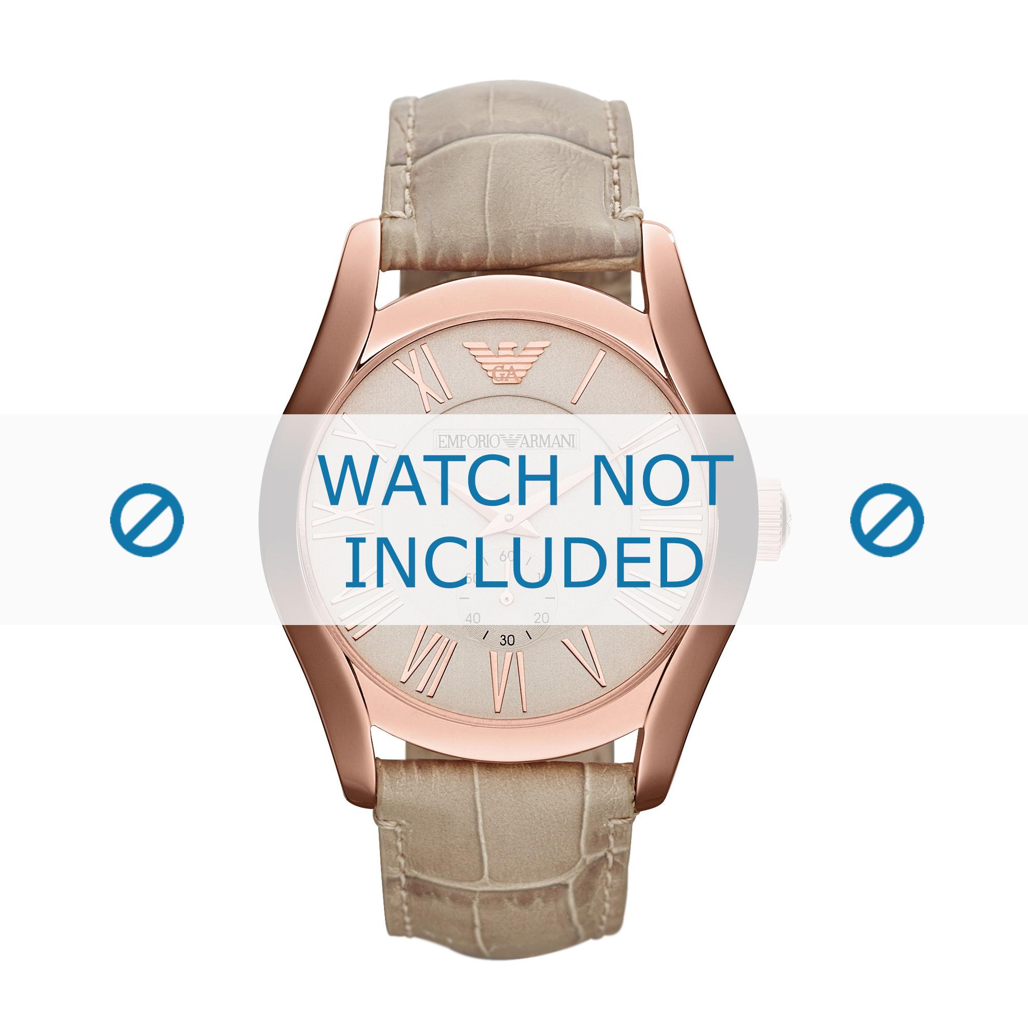 Armani horlogeband AR1667 Leder Beige 22mm + standaard stiksel