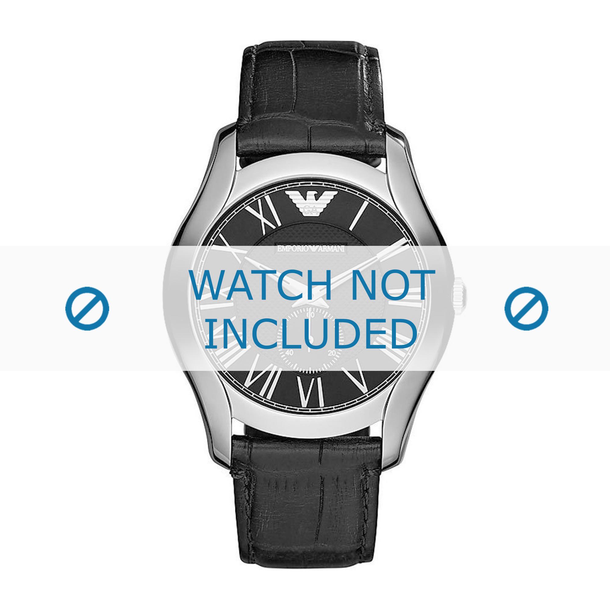 Armani horlogeband AR1703 Leder Zwart 22mm + zwart stiksel