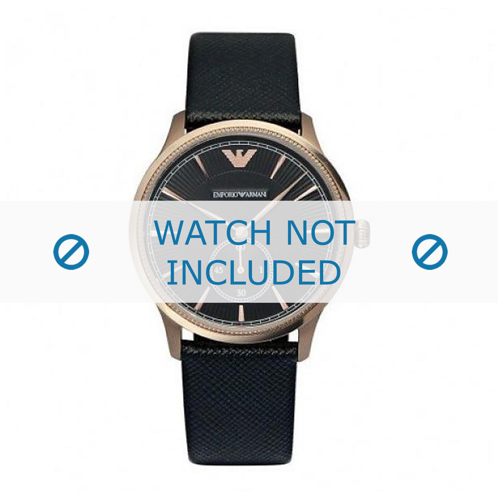 Armani horlogeband AR1798 Leder Zwart 20mm