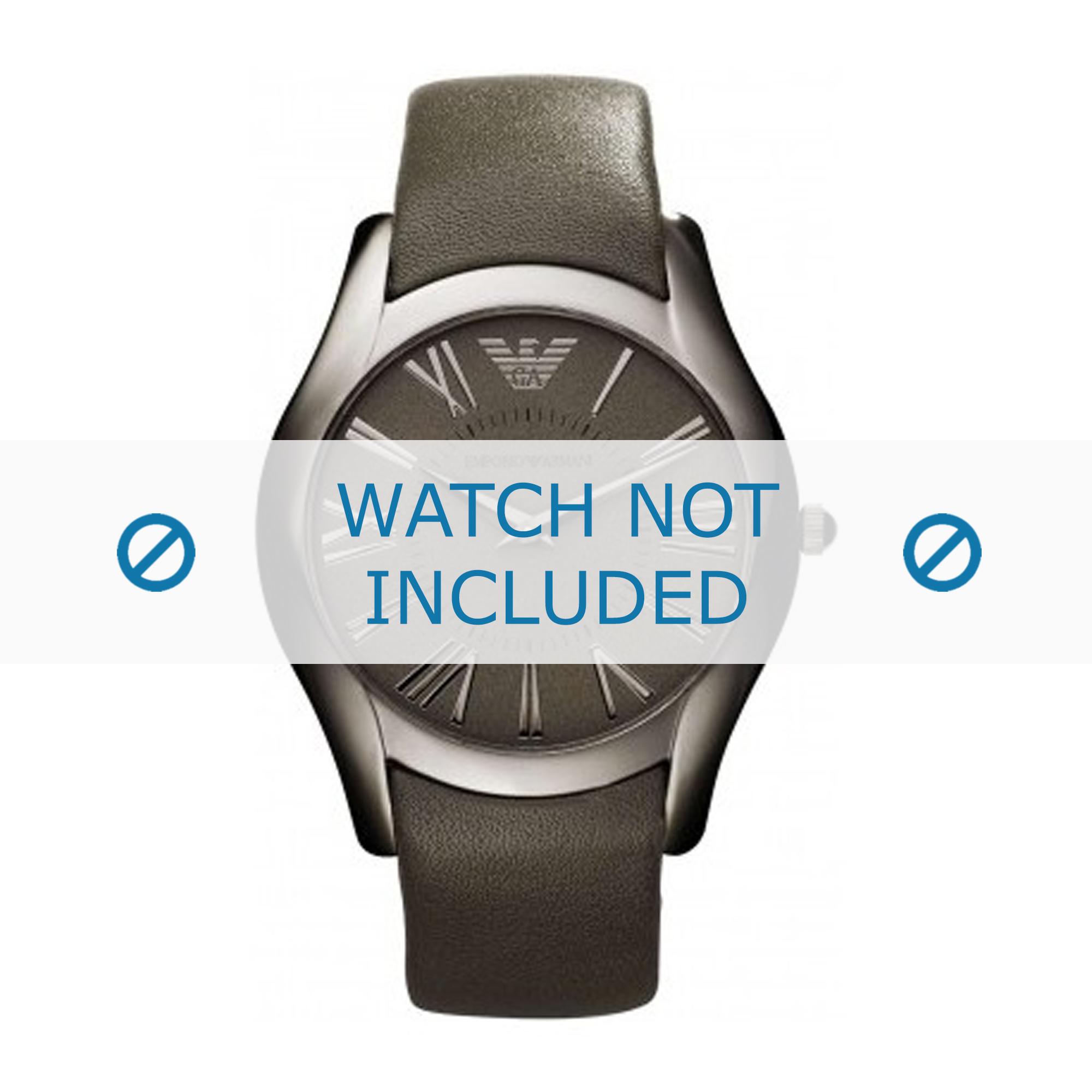 Armani horlogeband AR2057 Leder Grijs 22mm