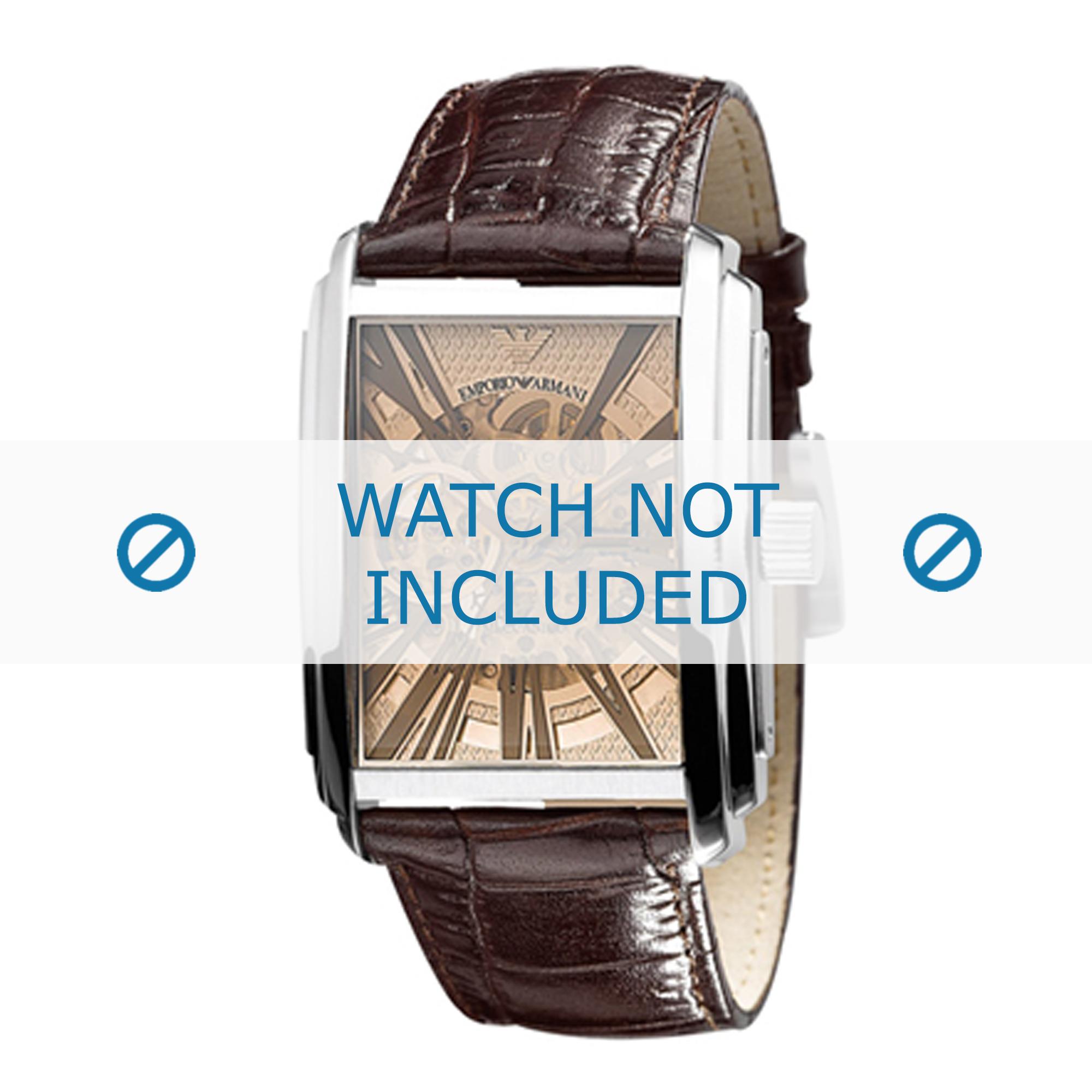 Armani horlogeband AR4230 Leder Bruin 26mm + bruin stiksel