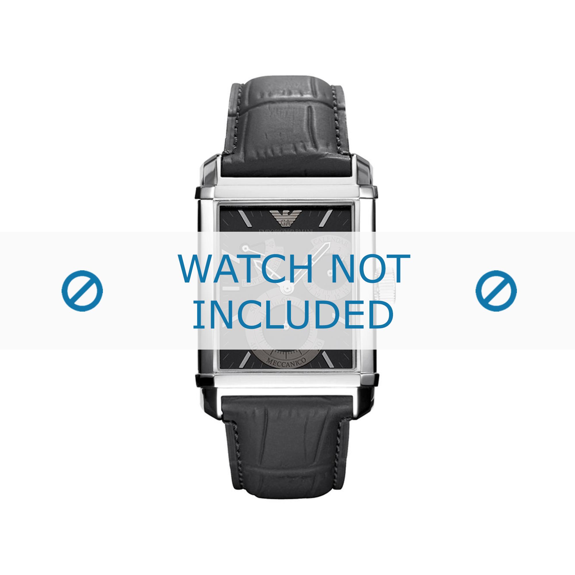 Armani horlogeband AR4235 Leder Zwart 24mm + zwart stiksel