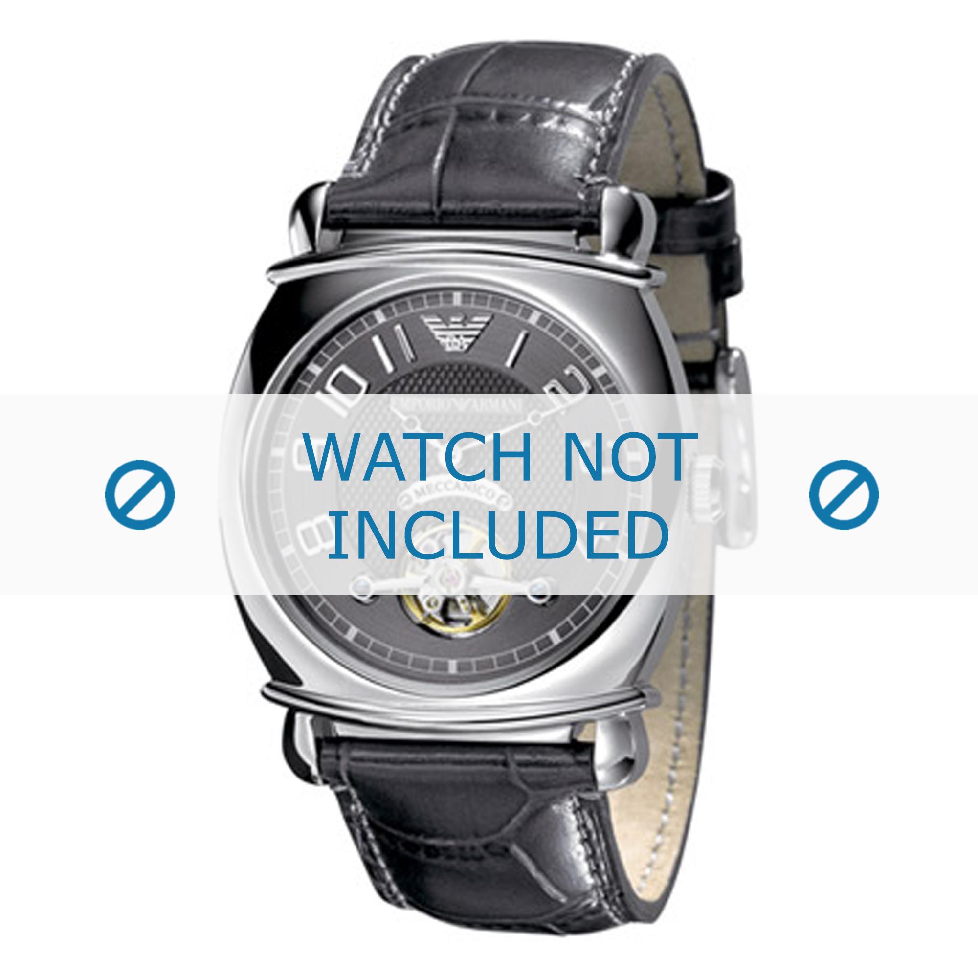Armani horlogeband AR4635 Leder Grijs 24mm + grijs stiksel