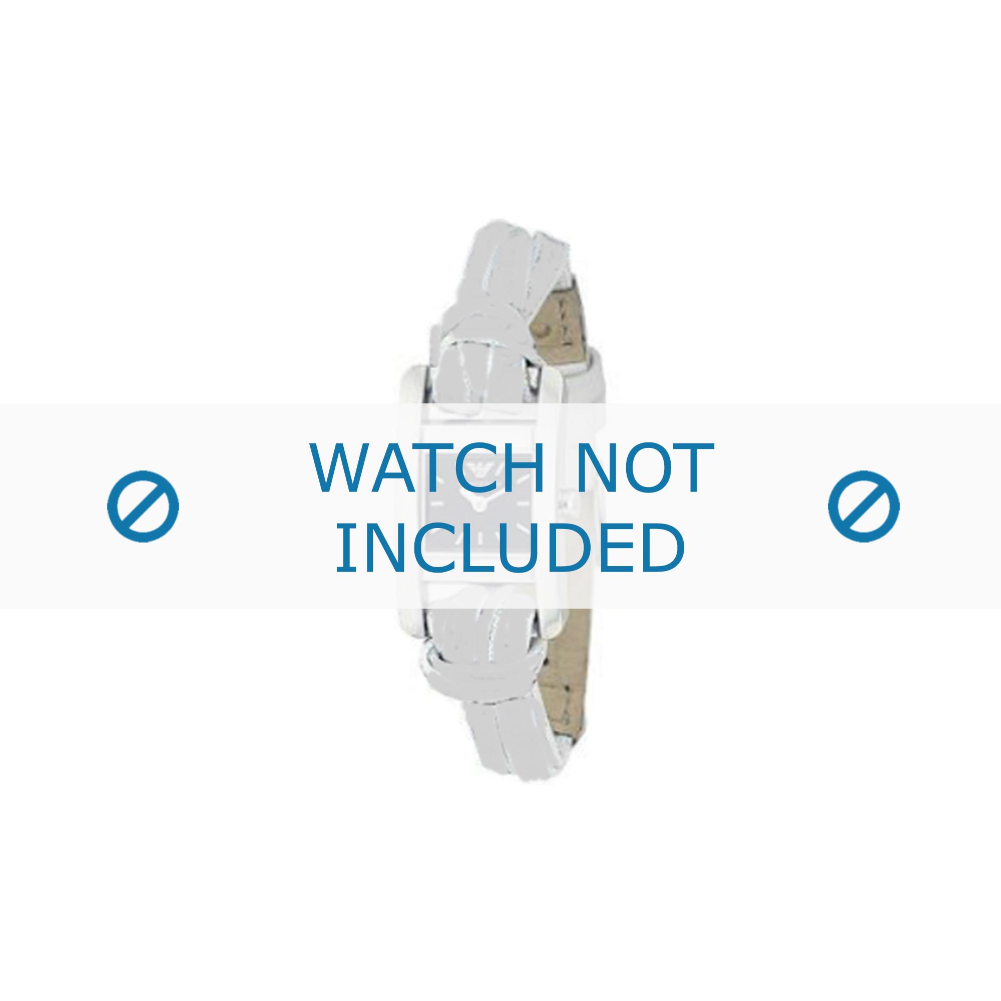 Armani horlogeband AR-5549 Leder Wit 10mm