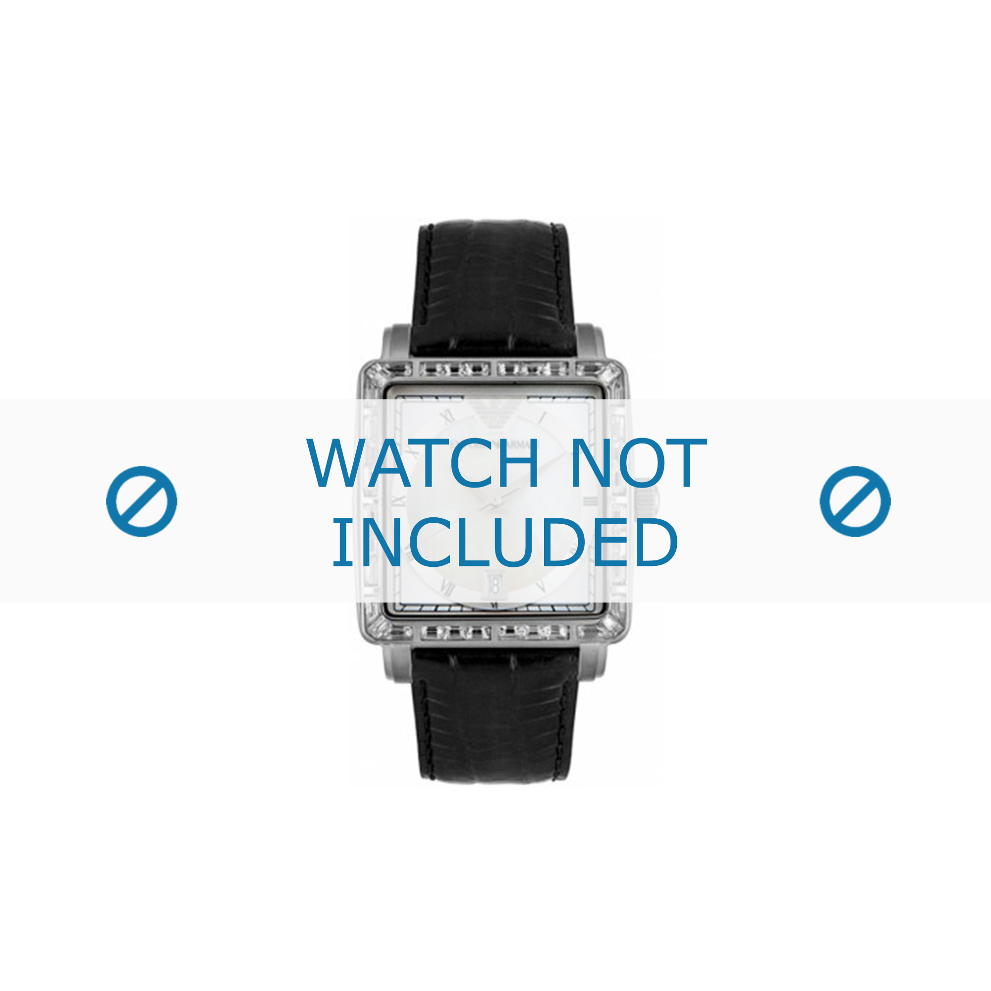Armani horlogeband AR-5650 Leder Zwart 22mm